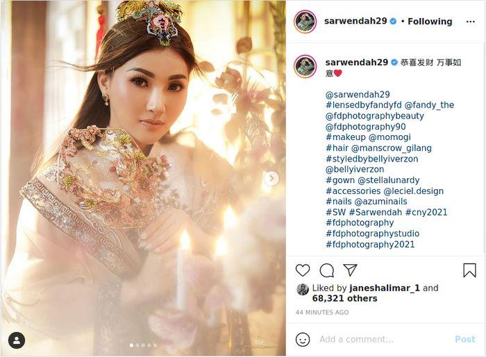 Unggah foto cantik dirinya saat sambut Imlek 2021, Sarwendah langsung banjir pujian dari netizen.