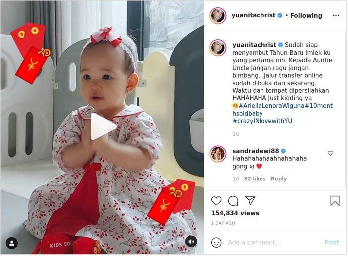 Unggah video tingkah imut putrinya saat rayakan Imlek 2021, Yuanita Christiani sukses bikin netizen gemas.