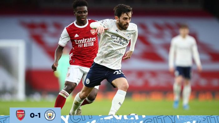 Gelandang Manchester City, Bernardo Silva, berduel dengan gelandang Arsenal, Bukayo Saka, dalam laga Liga Inggris di Stadion Emirates, Minggu (21/2/2021).