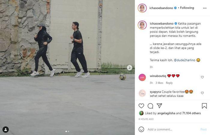 Alyssa Soebandono jogging bareng Dude Harlino