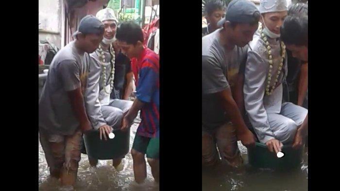 Pengantin yang viral usai nekat menikah di tengah banjir Jakarta pakai baskom.