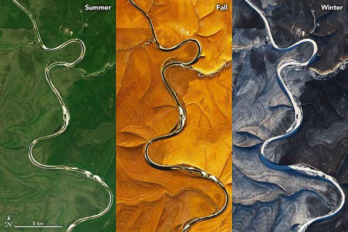 Bentuk aneh dari garis geografis di sekitar Sungai Marka di Siberia, Rusia, terlihat pada musim yang berbeda.