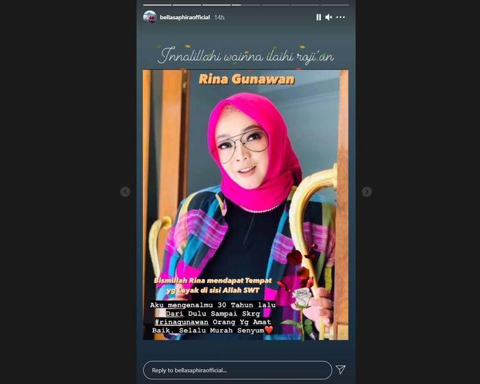Bella Saphira ungkapkan duka usai Rina Gunawan meninggal dunia