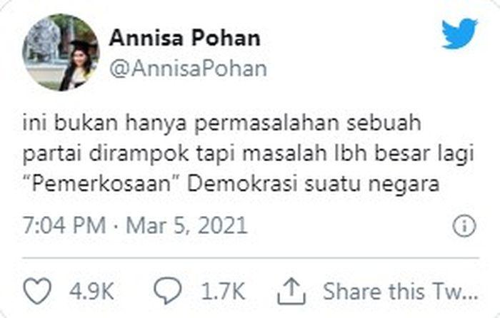 Cuitan Annisa Pohan di Twitter