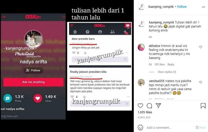 Nadya Arifta kepergok hina Jokowi