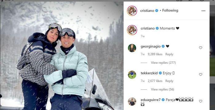Cristiano Ronaldo mengunggah momen liburannya bersama Georgina Rodriguez.