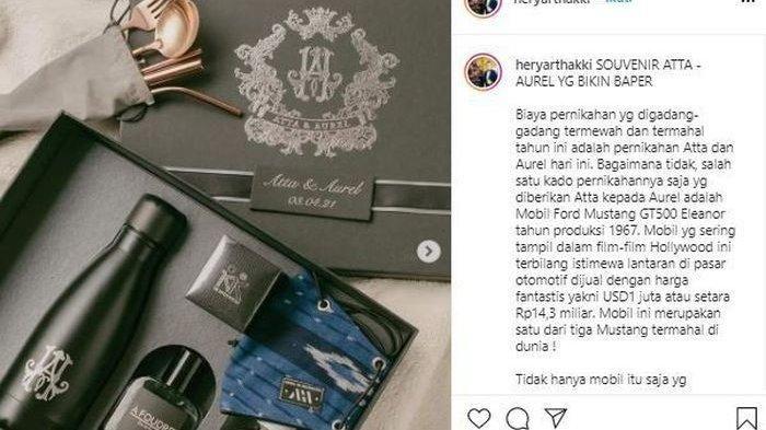Isi souvenir pernikahan Atta Halilintar dan Aurel Hermansyah