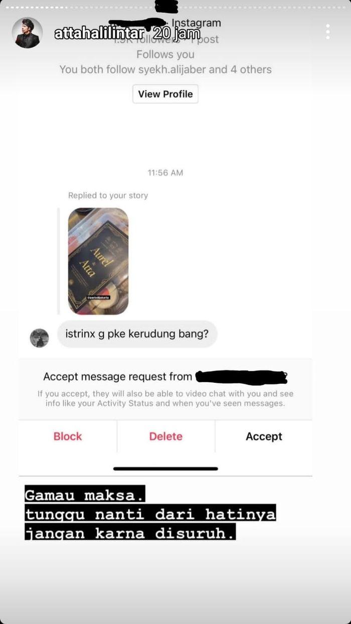 Tangkap layar Instagram @attahalilintar Atta Halilintar beri jawaban menohok untuk netizen yang bertanya tentang hijab Aurel Hermansyah