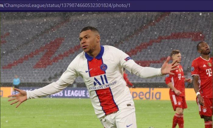 Bintang Paris Saint-Germain, Kylian Mbappe, merayakan gol ke gawang Bayern Muenchen di Stadion Allianz Arena dalam babak perempat final Liga Champions 2020-2021, Rabu (7/4/2021) waktu setempat atau Kamis pukul 02.00 WIB.