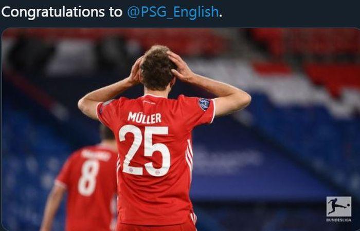 Ekspresi penyerang Bayern Muenchen, Thomas Mueller, usai timnya disingkirkan Paris Saint-Germain di Liga Champions 2020-2021.