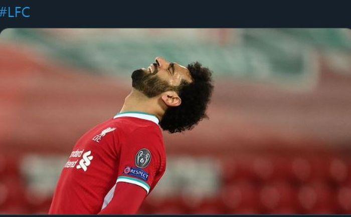 Ekspresi striker Liverpool Mohamed Salah dalam pertandingan melawan Real Madrid di Liga Champions.