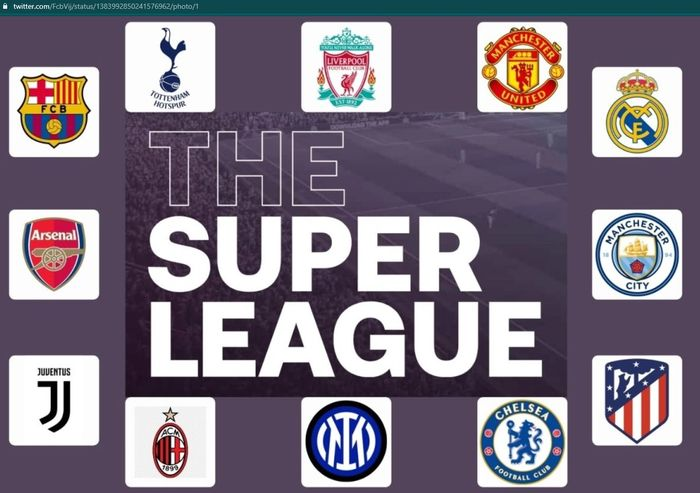 Ilustrasi 12 klub penggagas European Super League.