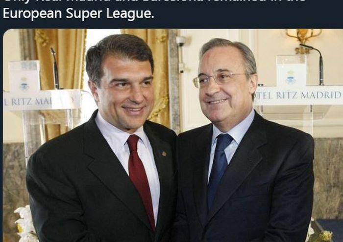 Presiden Barcelona, Joan Laporta (kiri), dan Presiden Real Madrid, Florentino Perez.