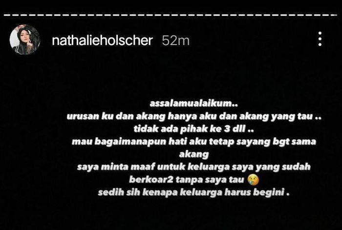 Tangkap layar Instagram Story @nathalieholscher Nathalie Holscher mengaku tak tahu menahu soal omongan keluarganya