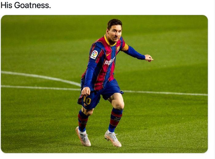 Penyerang Barcelona, Lionel Messi, pada laga kontra Getafe di Camp Nou, Kamis (22/4/2021) waktu setempat atau Jumat dini hari WIB.