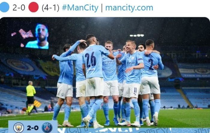 Manchester City tumbangkan PSG dengan skor 2-0 pada Selasa (4/5/2021).