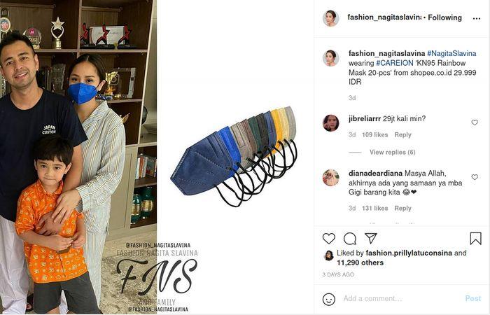 Penampakkan masker Rp 30 ribuan Nagita Slavina yang sukses curi perhatian netizen.
