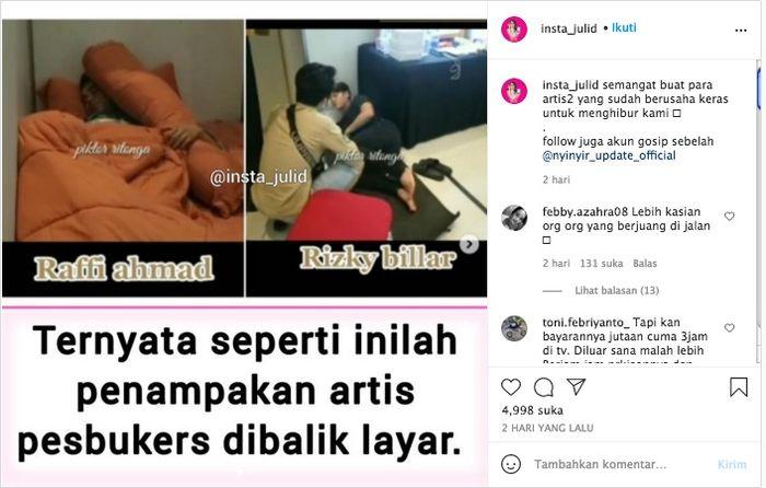 Perbedaan alas tidur Raffi Ahmad dan Rizky Billar di belakang panggung (Tangkap layar Instagram/@insta_julid)