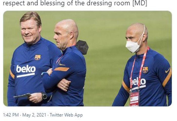 Asisten pelatih Barcelona, Alfred Schreuder (tengah) saat bersama Ronald Koeman dalam sebuah sesi latihan yang digelar El Barca.