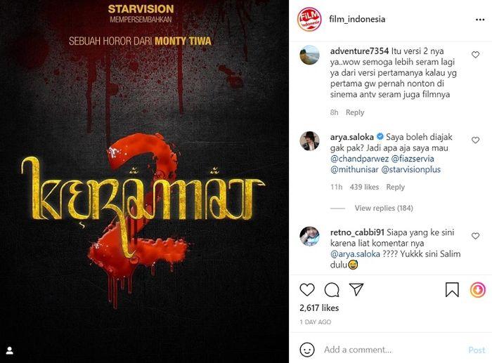 Postingan komentar Arya Saloka