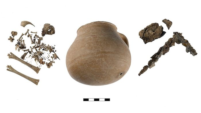 Inside the curse urn, archaeologists found iron nails, coins and chicken bones.