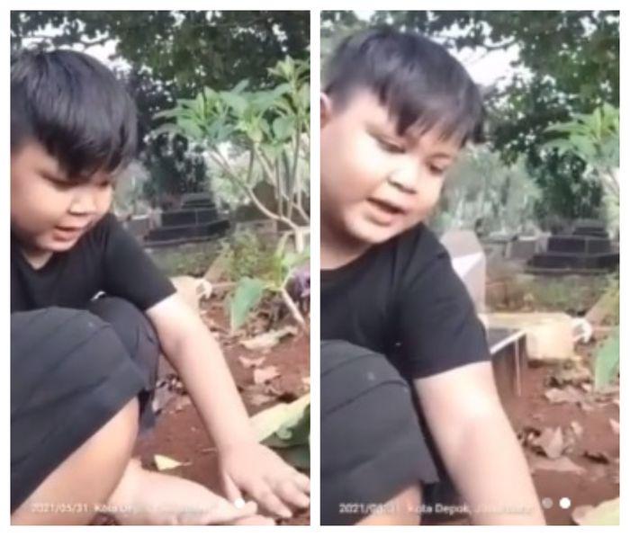 Bocah yang coba bangunkan ibunya yang baru dikubur