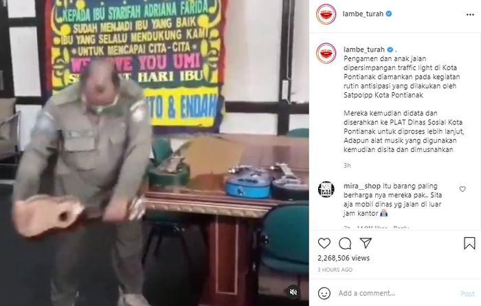 Oknum Satpol PP hancurkan gitar milik pangamen jalanan
