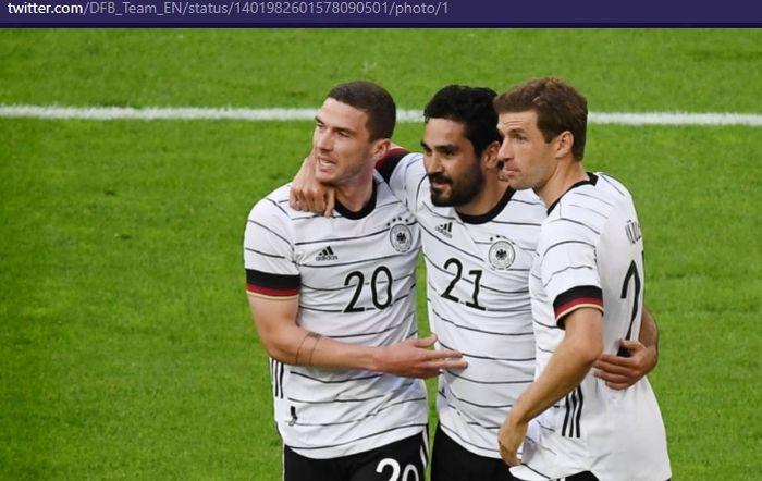 Robin Gosens, Ilkay Guendogan, dan Thomas Mueller, mencetak gol untuk timnas Jerman melawan timnas Latvia dalam laga uji coba di Stadion Merkur-Spiel-Arena, Senin (7/6/2021) waktu setempat atau Selasa pukul 01.45 WIB.