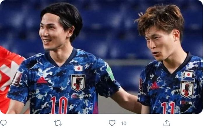 Takumi Minamino saat memperkuat timnas Jepang.