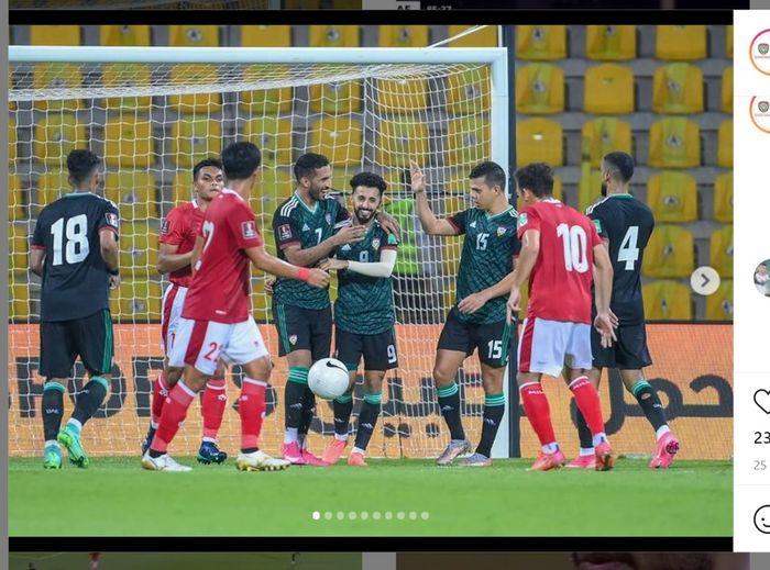 Para pemain Timnas UEA ketika merayakan golnya ketika menghadapi Timnas Indonesia, Jumat (11/6/2021) malam WIB.