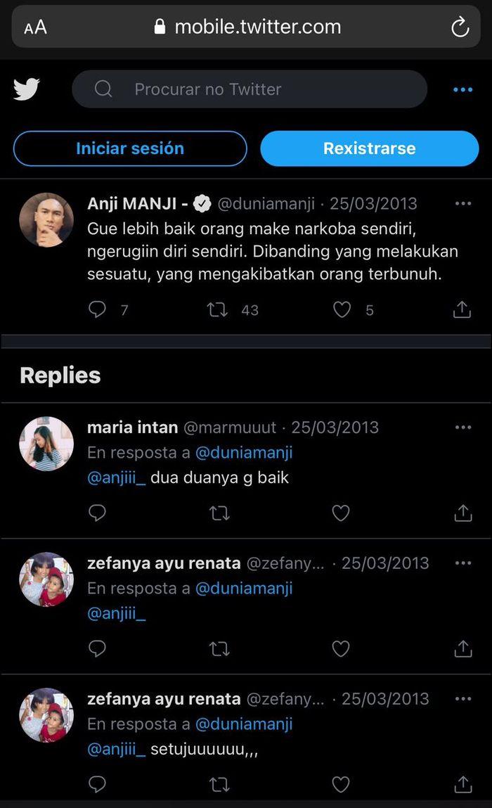 Unggahan Anji di Twitter yang menanggapi soal narkoba kembali menjadi sorotan usai sang musisi ditangkap atas kasus narkoba.