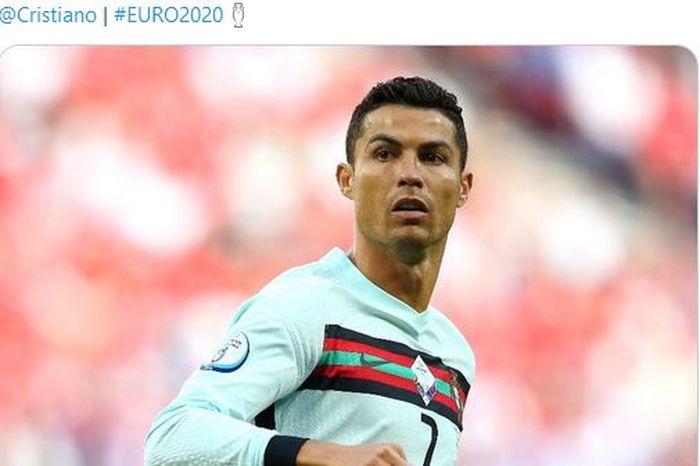 Ekspresi megabintang timnas Portugal, Cristiano Ronaldo, dalam laga Grup F EURO 2020 kontra timnas Hungaria di Stadion Puskas Arena, Selasa (15/6/2021).