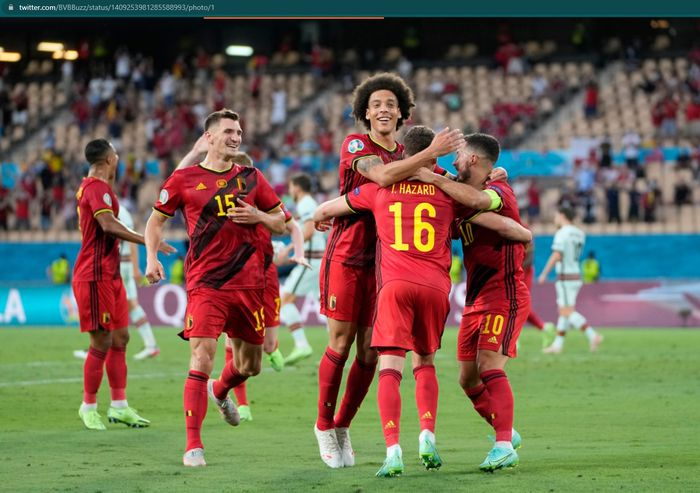 Timnas Belgia merayakan kemenangan 1-0 atas Portugal pada babak 16 besar Euro 2020.