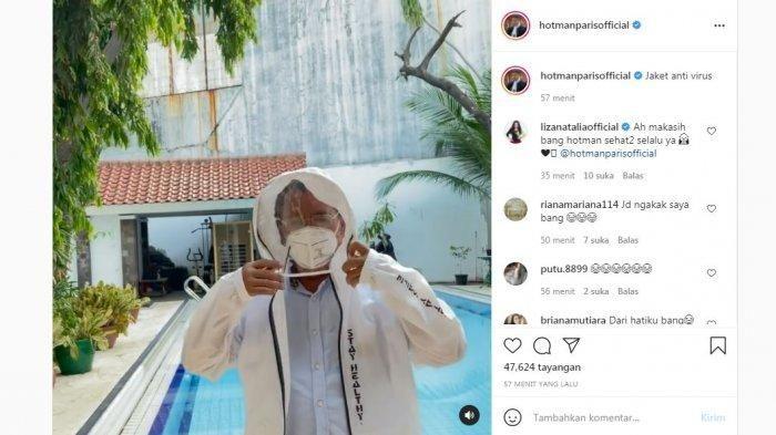 Hotman Paris Hutapea's upload on his personal Instagram account, Tuesday (6/7/2021).  Hotman Paris shows off wearing an anti-virus jacket sent by Liza Nathalia.