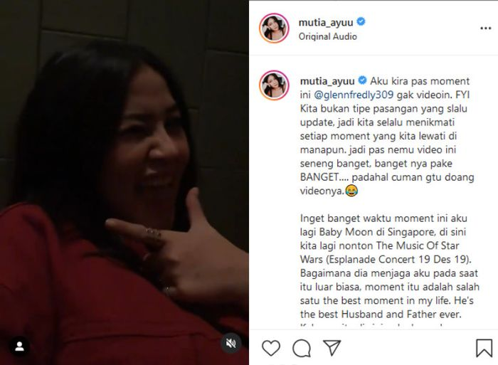 Mutia Ayu membagikan video kebersamaanya dengan <a href='https://manado.tribunnews.com/tag/glenn-fredly' title='GlennFredly'>GlennFredly</a> saat Baby Moon di Singapura