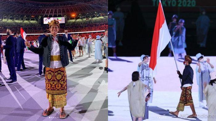 Rio Waida saat membawa bendera bendera Indonesia di Upacara Pembukaan Olimpiade Tokyo 2020