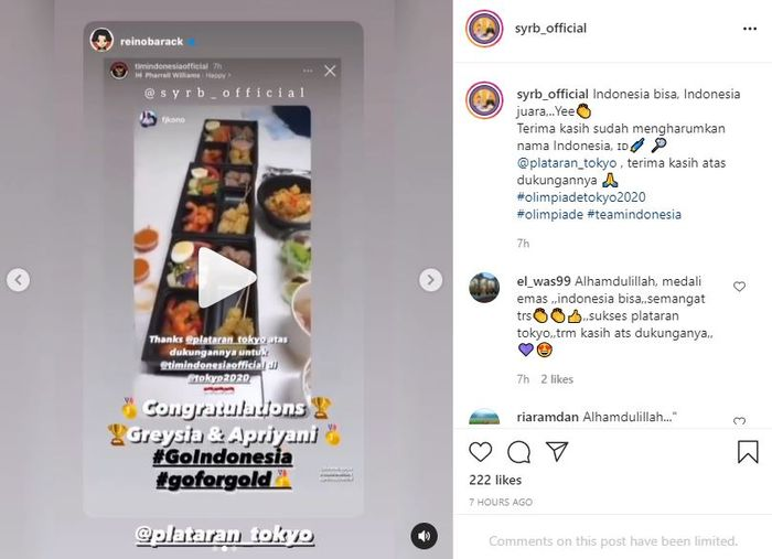 Reino Barack Sends Food to the Indonesian National Team which is Struggling at the Tokyo Olympics