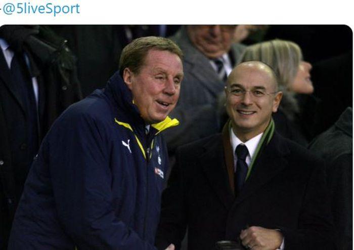 Harry Redknapp berdiskusi dengan Chairman Tottenham Hotspur, Daniel Levy.