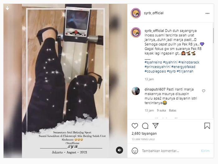 Syahrini and Reino Barack's Instagram fan uploads.