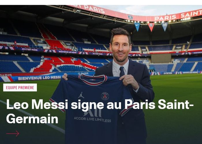 Pengumuman resmi Lionel Messi gabung Paris Saint-Germain di situs klub pada Rabu (11/8/2021) dini hari WIB. - Di Balik Nomor Punggung 30 Di PSG, Lionel Messi Langgar Anggaran Ligue 1 Sampai Paksa Kiper Cadangan Keempat Kehilangan Nomor