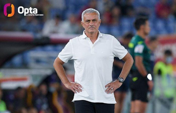 Ekspresi pelatih AS Roma, Jose Mourinho, dalam laga Liga Italia kontra Fiorentina di Stadion Olimpico, Minggu (22/8/2021).