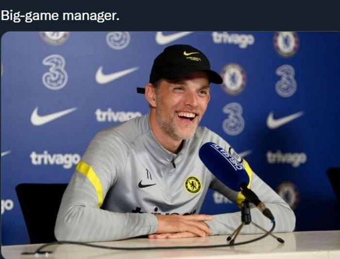 Pelatih Chelsea, Thomas Tuchel, saat memberikan keterangan pers.