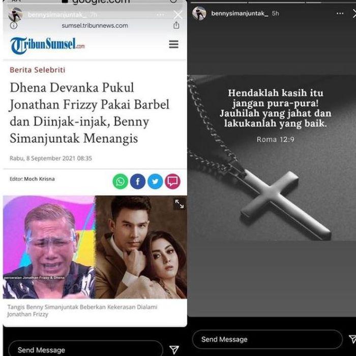Posting-an Benny Simanjuntak yang diduga benarkan isu Jonathan Frizzy dipukul Dhena Devanka