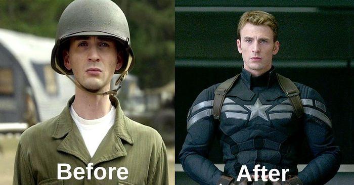Ilustración del Capitán América antes y después de obtener el súper soldado Seruma y Vira-Rays