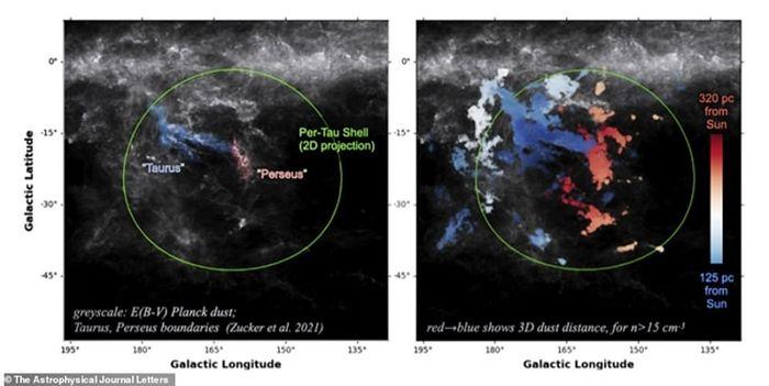 La cavité se situe entre les constellations de Persée et du Taureau et est entourée d'un nuage moléculaire, où naissent les étoiles.