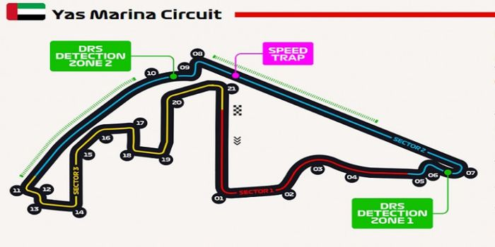 Layout Sirkuit Yas Marina untuk F1 GP Abu Dhabi.