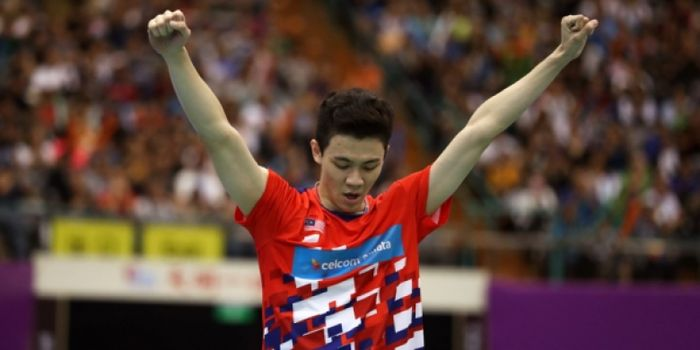 Ekspresi tunggal putra Malaysia, Lee Zii Jia, setelah memenangi Chinese Taipei Open 2018 pada Minggu