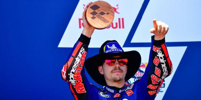 Ekspresi Maverick Vinales (Movistar Yamaha) usai tampil sebagai runner up balapan MotoGP Americas