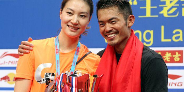 Tunggal putri China, Xie Xingfang (kiri), dan sang suami, Lin Dan.