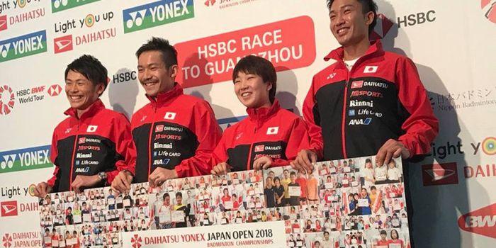 Dari ki-ka, Takeshi Kamura, Keigo Sonoda, Akane Yamaguchi, dan Kento Momota di Konferensi Pers Japan